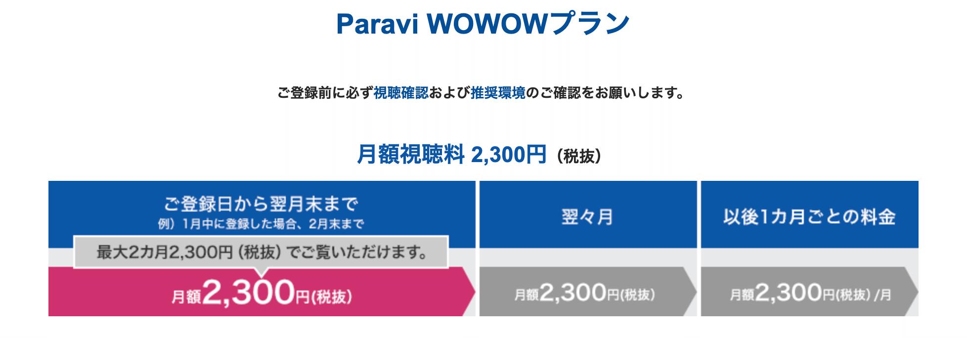 パラビ wowow